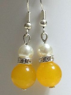 Yellow Jade White Pearl  Earrings