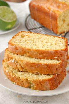 Coconut Lime Loaf Cake - incredibly easy loaf cake with the best crumb ever! You will love the coconut and lime flavors together!  #recipe #bread crunchycreamysweet.com