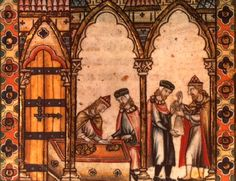 Jewish moneylenders portrayed in a Spanish manuscript from the late 1200s
