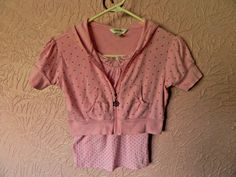 Limited Too Girls 2 Piece Tank Top Crop Hooded Jacket Size 10 Pink Polka Dots  #LimitedToo #Everyday