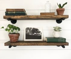 Industrial Reclaimed Wood shelves 3 shelves with pipe Rustic Wood Shelving, Industrial Floating Shelves, Reclaimed Wood Shelves, Wooden Bookcase, Industrial Shelving, Industrial Bathroom, Wood Wine Racks, Wine Rack Wall, Steampunk Shelves