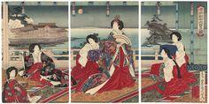 """Meiji empress and court ladies viewing the moon"" (1890), Toyohara Kunichika"