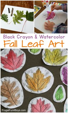 Gorgeous Black Crayon and Watercolor Fall Leaf Art - Frugal Fun For Boys and Girls
