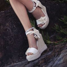 Ladies Ivory Wedding Wedges with cowrie shells by ForeverSoles, $169.95