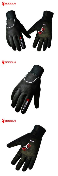 [Visit to Buy] BOODUN Windproof Fleece Bicycle Gloves Winter MTB Bike Thermal Guantes Ciclismo Bicicleta Luvas Men Full Finger Cycling Gloves #Advertisement