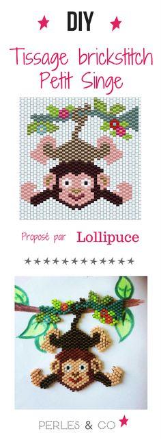 Vous allez apprendre à réaliser un petit singe suspendu sur sa branche en tissage brick stitch à l'aide du diagramme de @Lollipuce !