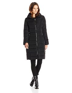 Calvin Klein Women's Long Down Coat - No Fur, Black, Small *** Continue to the product at the image link.
