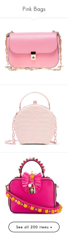 """""""Pink Bags"""" by brassbracelets ❤ liked on Polyvore featuring bags, handbags, shoulder bags, purses, paradise rose, womenbags, handbags shoulder bags, valentino handbags, man bag and crossbody purses"""