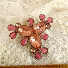 Large Vintage Brooch Pin Pink prong set Givre by TobysArtwear