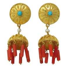 Lalaounis Coral Turquoise Gold Earrings