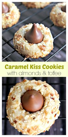 Coated Caramel Kiss Cookies: Easy to make buttery cookies with a caramel kiss center and coated in chopped almonds and toffee. Pretty and easy too! By Penney Lane Kitchen