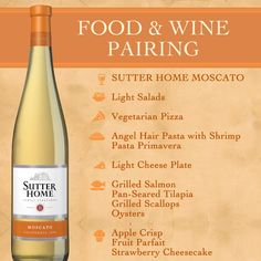 Sutter Home food & wine paring for Moscato | #WineNight #WineParing http://www.brioitalian.com/bar_brioso.html?view=full
