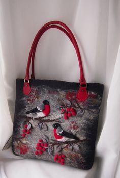 Felted bag,Red,Black-Bullfinches-Felted purse-Felt handbag-Art handbag-Natural Leather handles-Felt bag-Felted wool purse-handbag