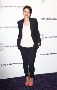 Pin for Later: No Wonder Big Brother's Emma Willis Is the Celeb Mum We All Want to Look Like Emma Willis Pink heels lifted this simple blazer-and-jeans look to new heights.