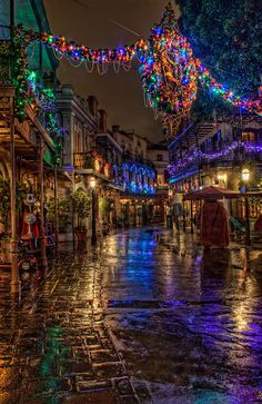 """""""New Orleans Square"""" lit up for Christmas at Disneyland, California, U.S.A."""