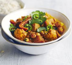 A meat-free curry, low in saturated fat and packed with goodness from butternut squash, cauliflower, peppers and chickpeas