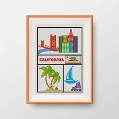 BUY 2 GET 1 FREE California cross stitch by NataliNeedlework