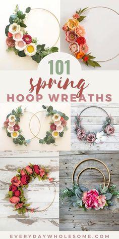 Spring Wreaths For Front Door Diy, Diy Spring Wreath, How To Make Wreaths, Wreath Crafts, Diy Wreath, Felt Wreath, Porte Diy, Embroidery Hoop Decor, Beaded Embroidery