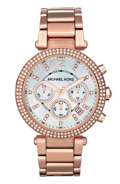 cee0746c31 Adding this rose gold Michael Kors watch to the jewelry box. Chanel,  Michael Kors