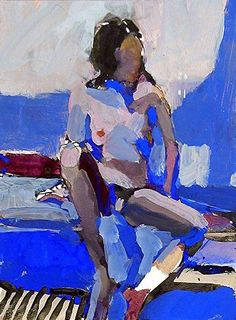 A May Blue by Kim Frohsin Ink dry pigment gouache pencil 10 x 7 Figure Painting, Painting & Drawing, Gouache Painting, Portrait Art, Portraits, Figurative Kunst, Paintings I Love, Art Sketchbook, Erotic Art
