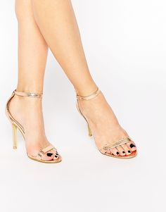 f10e57f50479 Glamorous Gold Patent Two Part Heeled Sandals at asos.com