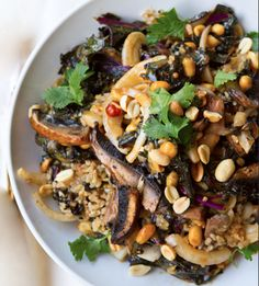 Mushroom Kale Rice Bowl with cilantro and peanuts