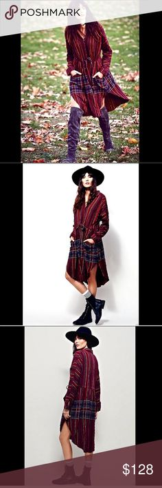 """Free People wine  Maxi Plaid Buttondown  Dress 6 Free People wine purple black Midi Maxi Plaid Buttondown Tunic Dress Effortless oversized checkered button-down featuring dolman long sleeves and hip pockets drawstring adjustable waist with contrast striped detailing along the flow skirt New Without Tags  *  Size:  X Small  * there is a black line through the tag to prevent store return  99% cotton * 1% spandex machine wash cold  measures: 42"""" around bust 39"""" around waist 39"""" long in front…"""