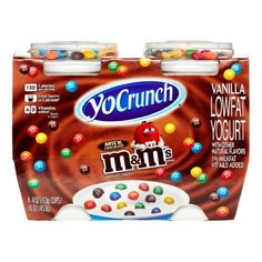 Vanilla Lowfat Yogurt with other natural flavors and M&M'S® MINIS Milk Chocolate Candies Cute Snacks, Cute Desserts, Chocolate Explosion Cake, Chips Ahoy Cookies, Kids Yogurt, Disney Coffee Mugs, Candy Drinks, Pastel Candy, Gingerbread Cake