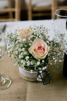 Chic Weddings, suggestion number 9201566749 - Impressive pointer to have a romantic yet stupendenous day. Hessian Wedding, Wedding Table Flowers, Rustic Wedding, Wedding Colours, Wedding Ideas, Wedding Stuff, Flowers In Jars, Rustic Flowers, Flower Centerpieces