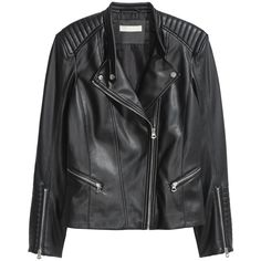 Bikerjacka 199 (32 AUD) ❤ liked on Polyvore featuring outerwear, jackets, black, h&m, leather jacket, real leather jackets, 100 leather jacket, leather jackets, h&m jackets and genuine leather jackets
