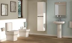 Pura dekka available from John Nicholls Compact Bathroom, Modern Bathroom, Traditional Bathroom Suites, Small Basin, Pedestal Basin, Neat And Tidy, Beautiful Bathrooms, Contemporary, Mirror