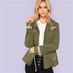 28683790ee SHEIN Army Green Preppy Highstreet Fringe Detail Pocket Button Trim Jacket  2018 Autumn Fashion Campus Women