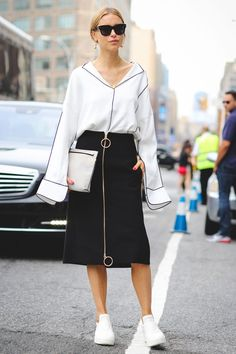 The Most Authentically Inspiring Street Style From New York #refinery29  http://www.refinery29.com/2015/09/93788/ny-fashion-week-spring-2016-street-style-pictures#slide-96  Zipped up....