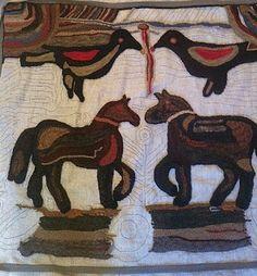 working on a Magdalena Briner rug
