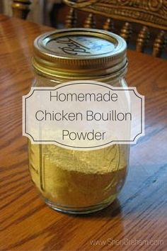 Homemade Chicken Bouillon Powder - Sheri Graham: Helping you live with intention and purpose! - I have been buying MSG-free chicken broth powder from the health food store for quite a while now. Homemade Dry Mixes, Homemade Spices, Homemade Seasonings, Homemade Food, Homemade Ranch Seasoning, Soup Mixes, Spice Mixes, Spice Blends, Thm Recipes