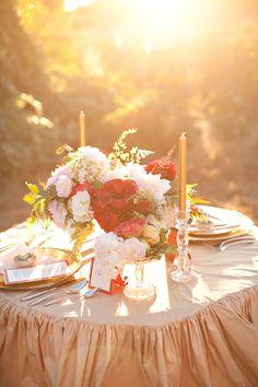 beautiful table at sunset - romantic
