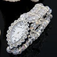 "lear Crystal Glass Beads Bracelet Bangle Eye Watch Lady 1"""