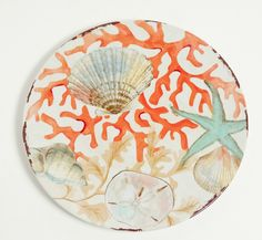"""The Coral Reef 10.5""""""""D dinner plates are a mixture of red coral branches and shore found seashells with a hand painted brush look. Your guests will think this gorgeous melamine dinnerware is fine Ital"""