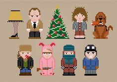 A Christmas Story Movie Characters - Digital PDF Cross Stitch Pattern This is a digital PDF file of a cross stitch pattern. Cross Stitch Fabric, Cross Stitch Art, Cross Stitching, Cross Stitch Embroidery, Cross Stitch Christmas Ornaments, Christmas Cross, Christmas Ideas, Christmas Charts, Xmas
