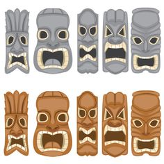 Stone and Wood Tiki Faces Clip Art - PNG