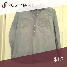 Gap denim popover Cute GAP denim popover. Worn twice. GAP Tops Blouses