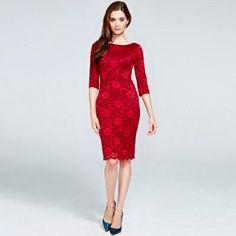 HotSquash Red long sleeved lace dress with ThinHeat- at Debenhams.com