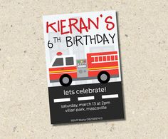 "Fire Truck Birthday Invitation. Sound the alarm. This invite is perfect for your next fireman theme party. Sure to impress any ""fireman Sam"""