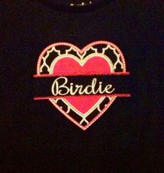 Custom Appliqué Valentine's Day Tee for Girls Heart Valentine Shirt hot pink black quatrefoil / trefoil Personalized w/ girly Ruffles hems