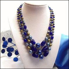Cobalt Glass Necklace 3 Strands w Pearls 1950s Vintage Jewelry   http://www.greatvintagejewelry.com/inc/sdetail/cobalt-glass-necklace-3-strands-w-pearls-1950s-vintage-jewelry-/19303 $95