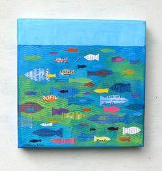 Ocean Painting, Paintings of fish, fish art fish collage word art  Elizabeth Rosen. $155.00, via Etsy.