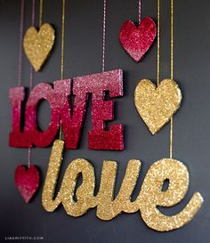 Make these glittered banners for you Valentine's Day celebration! The DIY project includes a template and tutorial using the Martha Stewart glitters.