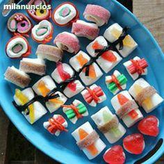 Sushi - Gummibärchen in verschiedenen Formen zusammengebunden. Nette Idee!