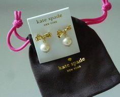 Kate Spade pave crystal and faux pearl earrings