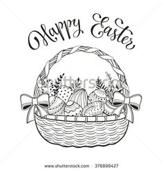 Happy Easter greeting card in sketch style. Easter doodle eggs in basket isolated on white background. Hand drawn Easter basket decorated with bows.